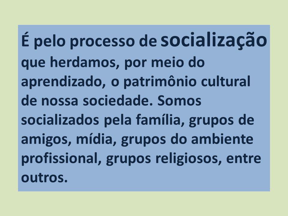 É pelo processo de socialização que herdamos, por meio do aprendizado, o patrimônio cultural de nossa sociedade. Somos socializados pela família, grup