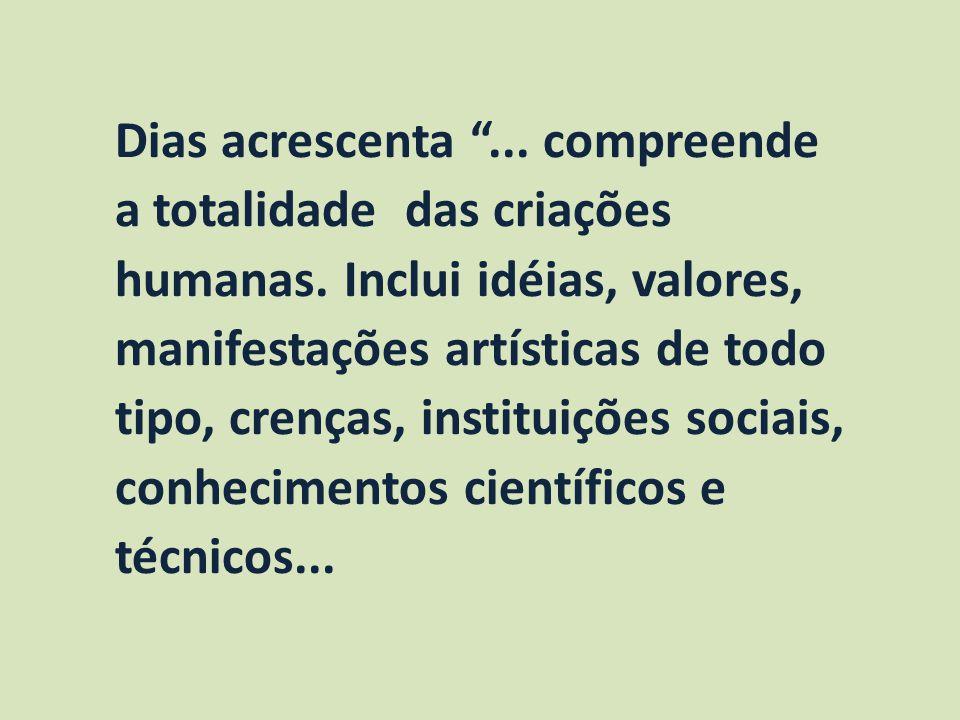 Dias acrescenta... compreende a totalidade das criações humanas. Inclui idéias, valores, manifestações artísticas de todo tipo, crenças, instituições