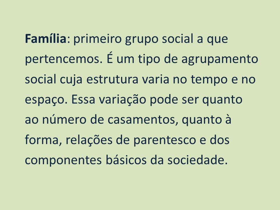 Família: primeiro grupo social a que pertencemos. É um tipo de agrupamento social cuja estrutura varia no tempo e no espaço. Essa variação pode ser qu