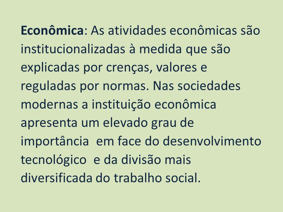 Econômica: As atividades econômicas são institucionalizadas à medida que são explicadas por crenças, valores e reguladas por normas. Nas sociedades mo