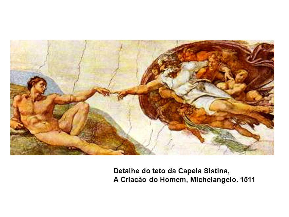 Detalhe do teto da Capela Sistina, A Criação do Homem, Michelangelo. 1511