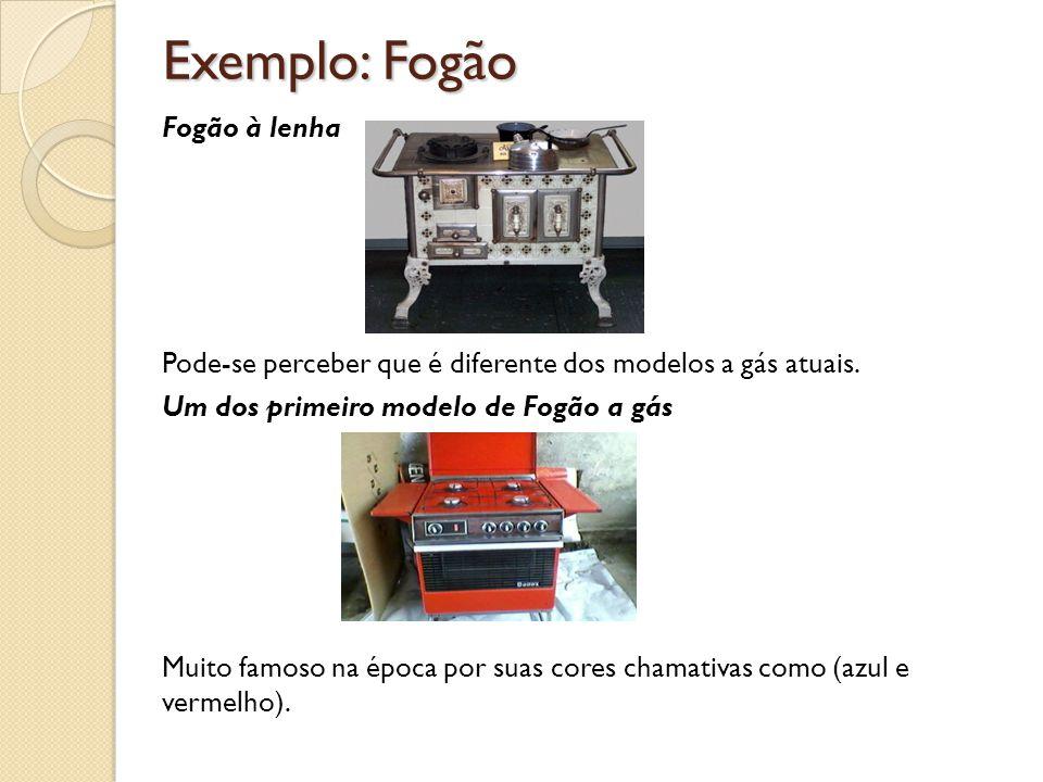 Exemplo: Fogão Fogão à lenha Pode-se perceber que é diferente dos modelos a gás atuais. Um dos primeiro modelo de Fogão a gás Muito famoso na época po