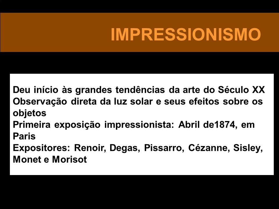 IMPRESSIONISMO Deu início às grandes tendências da arte do Século XX Observação direta da luz solar e seus efeitos sobre os objetos Primeira exposição