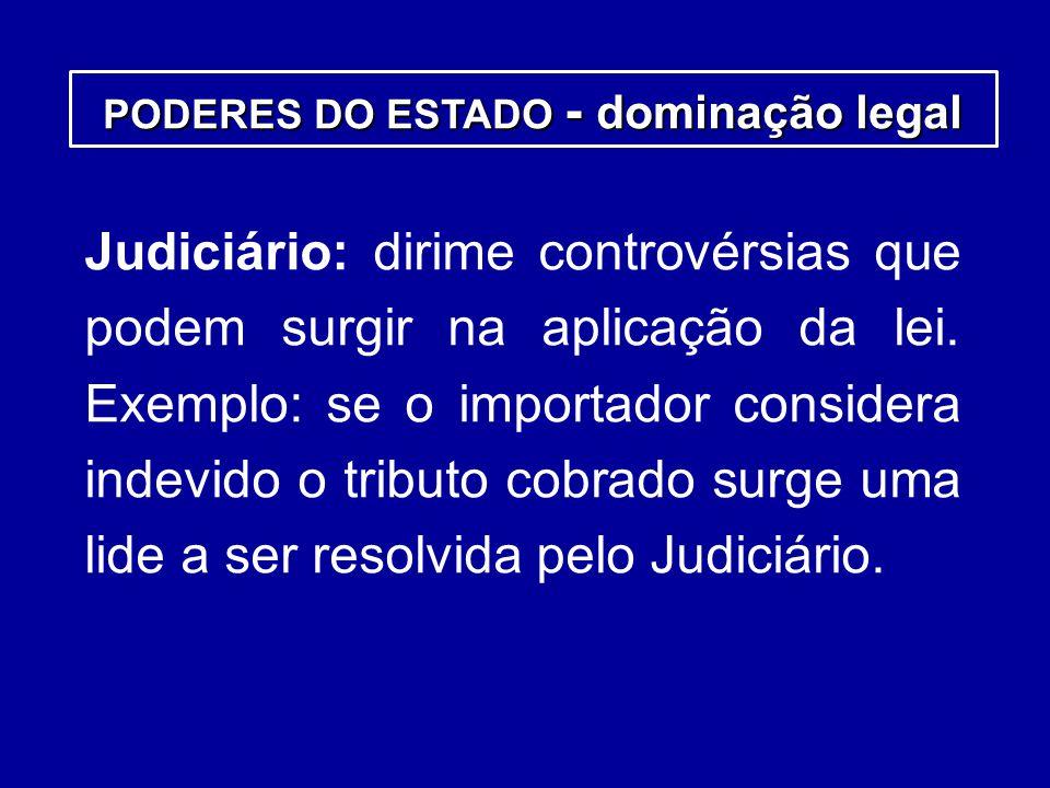 Judiciário: dirime controvérsias que podem surgir na aplicação da lei. Exemplo: se o importador considera indevido o tributo cobrado surge uma lide a