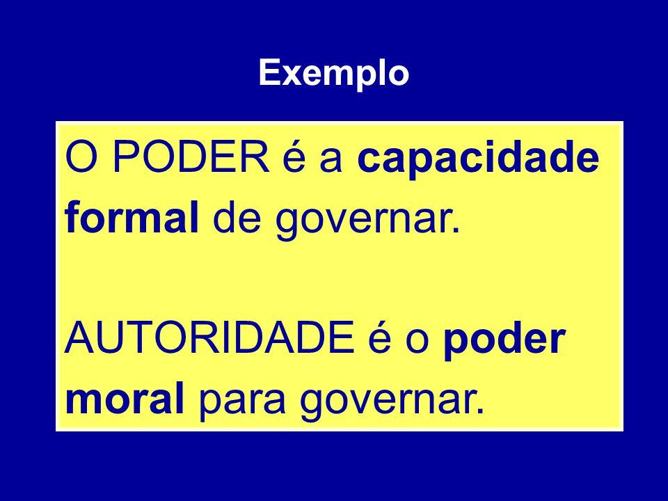 O PODER é a capacidade formal de governar. AUTORIDADE é o poder moral para governar. Exemplo