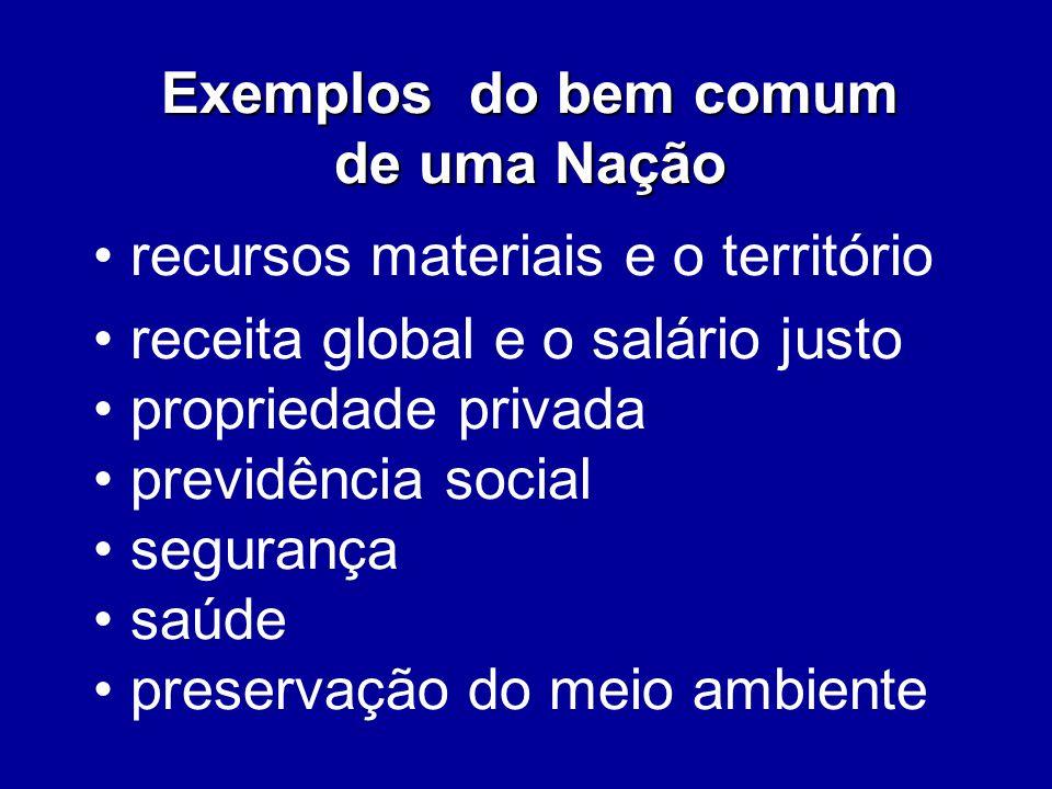 Exemplos do bem comum de uma Nação recursos materiais e o território receita global e o salário justo propriedade privada previdência social segurança