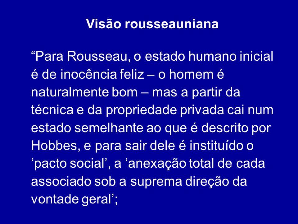 Visão rousseauniana Para Rousseau, o estado humano inicial é de inocência feliz – o homem é naturalmente bom – mas a partir da técnica e da propriedad