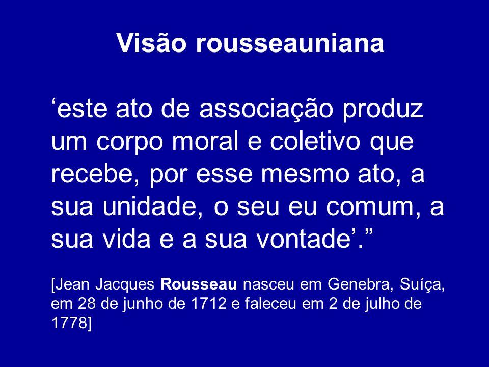 Visão rousseauniana este ato de associação produz um corpo moral e coletivo que recebe, por esse mesmo ato, a sua unidade, o seu eu comum, a sua vida