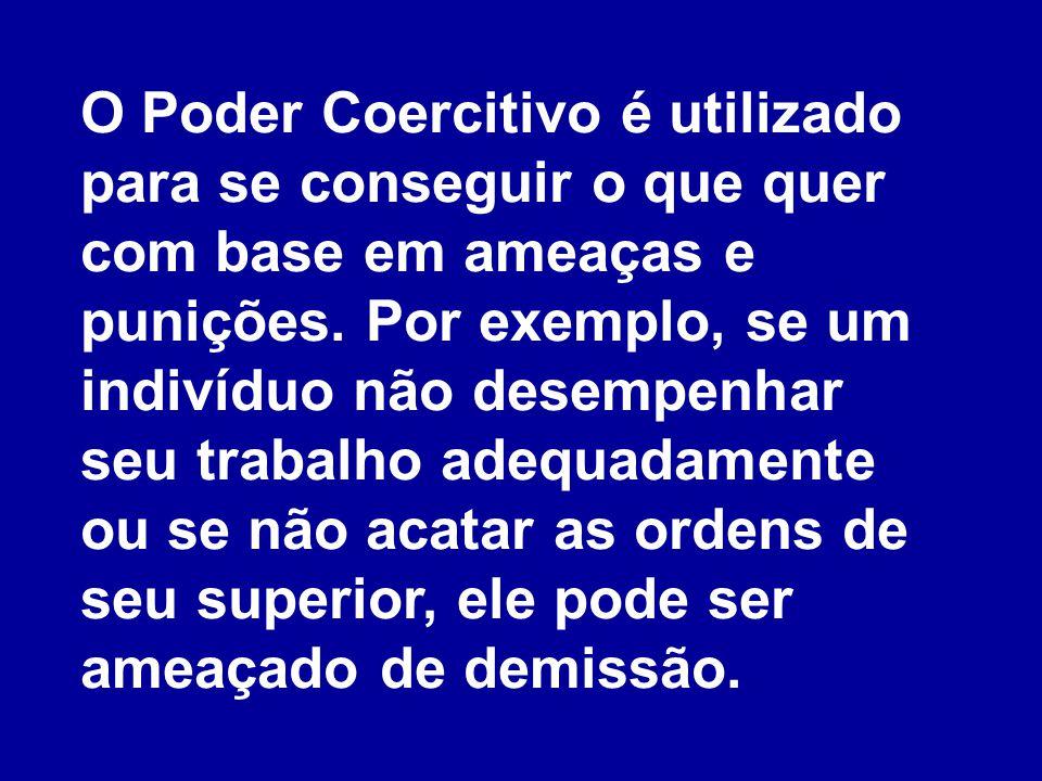 O Poder Coercitivo é utilizado para se conseguir o que quer com base em ameaças e punições. Por exemplo, se um indivíduo não desempenhar seu trabalho