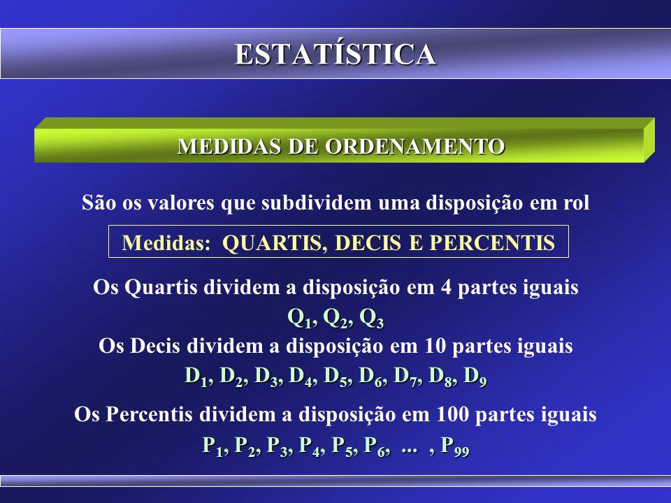 ESTATÍSTICA MEDIDAS DE ORDENAMENTO A mediana caracteriza uma série de valores devido à sua posição central, mas também separa a série em dois grupos q