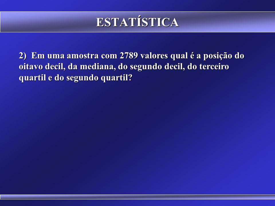 ESTATÍSTICA 1) Dado o conjunto de dados: a) apresente a disposição em rol; b) o Percentil 50, c) o Primeiro Quartil, d) a Média, e) a Moda e f) a Medi