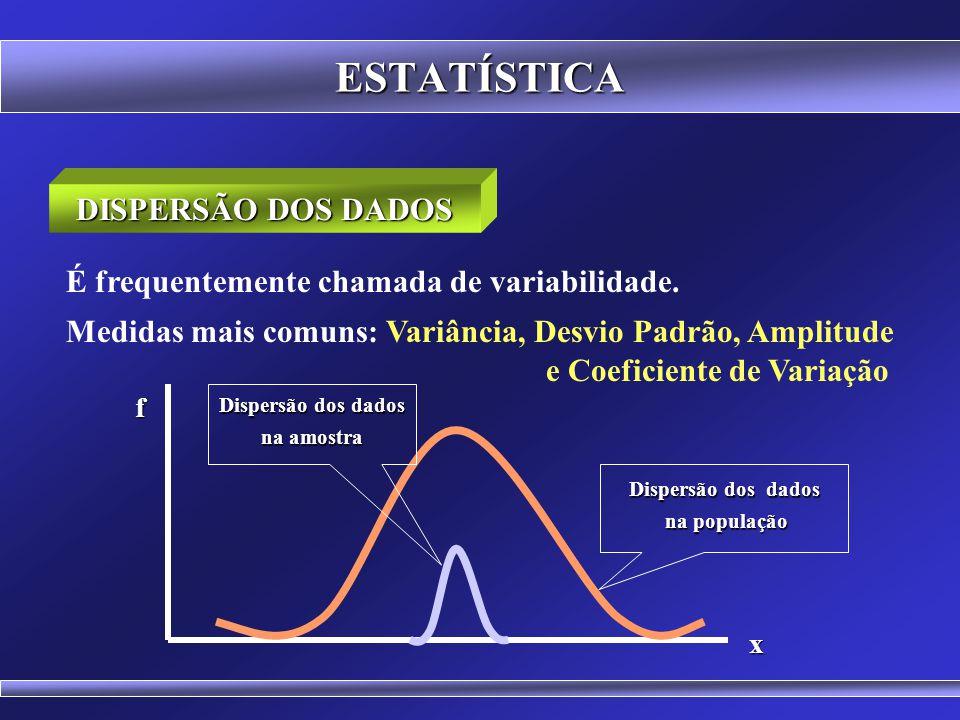 ESTATÍSTICA DISPERSÃO DOS DADOS Vimos que um conjunto de valores pode ser convenientemente sintetizado, por meio de procedimentos matemáticos, em pouc
