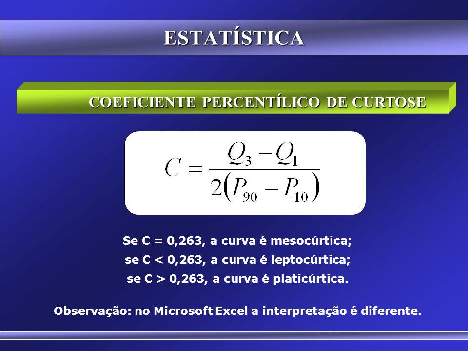 ESTATÍSTICA MENSURANDO A CURTOSE Denominamos curtose o grau de achatamento de uma distribuição em relação a uma distribuição padrão, denominada curva