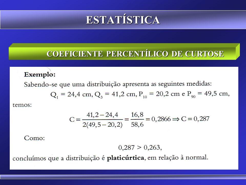 ESTATÍSTICA COEFICIENTE PERCENTÍLICO DE CURTOSE Se C = 0,263, a curva é mesocúrtica; se C < 0,263, a curva é leptocúrtica; se C > 0,263, a curva é pla