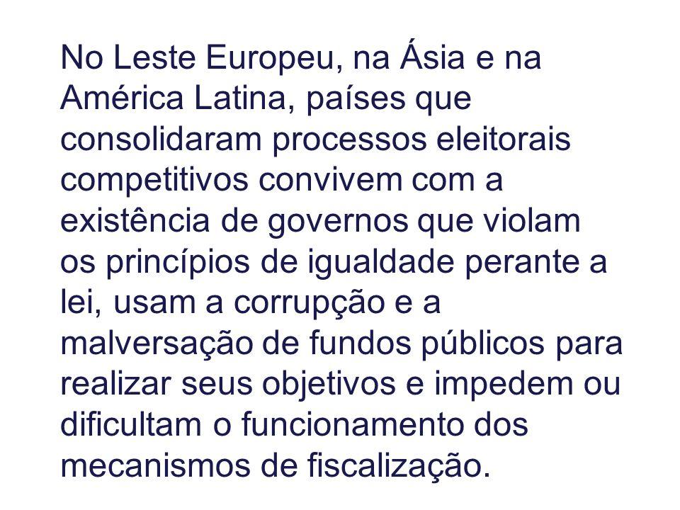 No Leste Europeu, na Ásia e na América Latina, países que consolidaram processos eleitorais competitivos convivem com a existência de governos que vio