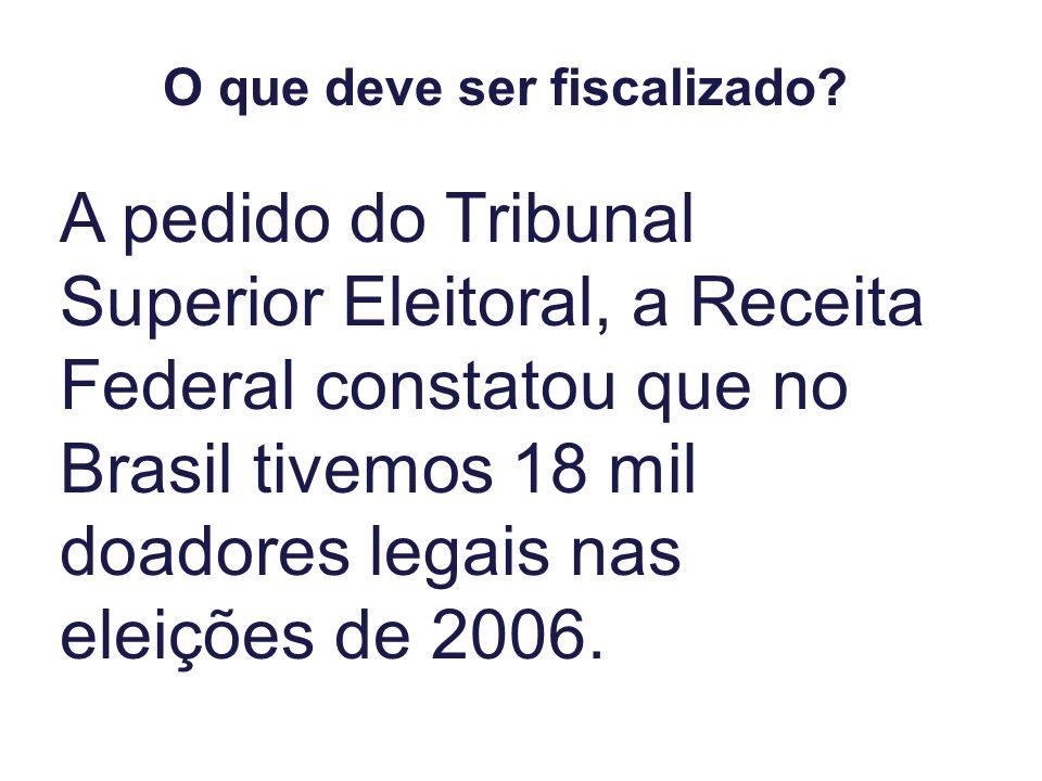 O que deve ser fiscalizado? A pedido do Tribunal Superior Eleitoral, a Receita Federal constatou que no Brasil tivemos 18 mil doadores legais nas elei