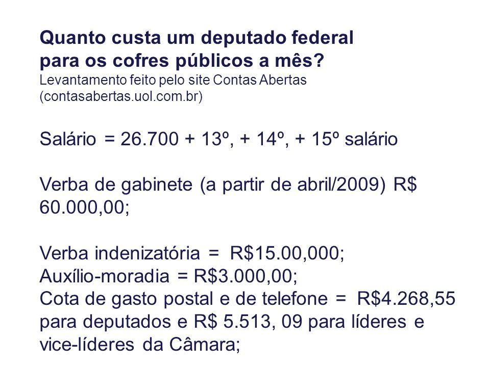 Quanto custa um deputado federal para os cofres públicos a mês.