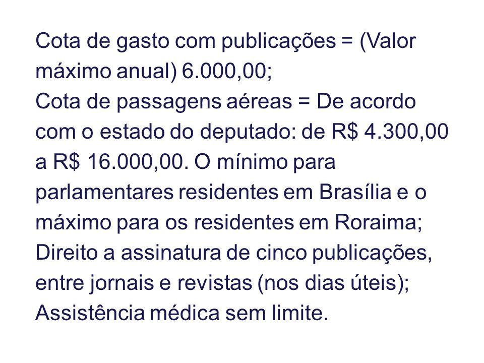 Cota de gasto com publicações = (Valor máximo anual) 6.000,00; Cota de passagens aéreas = De acordo com o estado do deputado: de R$ 4.300,00 a R$ 16.000,00.