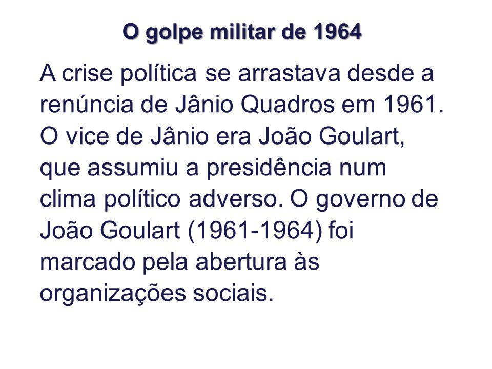 A crise política se arrastava desde a renúncia de Jânio Quadros em 1961.