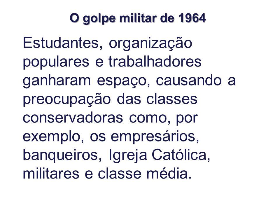 Estudantes, organização populares e trabalhadores ganharam espaço, causando a preocupação das classes conservadoras como, por exemplo, os empresários, banqueiros, Igreja Católica, militares e classe média.