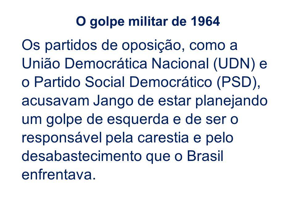 Os partidos de oposição, como a União Democrática Nacional (UDN) e o Partido Social Democrático (PSD), acusavam Jango de estar planejando um golpe de esquerda e de ser o responsável pela carestia e pelo desabastecimento que o Brasil enfrentava.