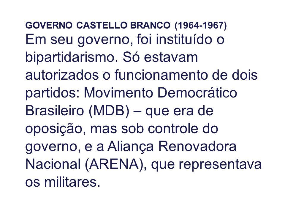 GOVERNO CASTELLO BRANCO (1964-1967) Em seu governo, foi instituído o bipartidarismo. Só estavam autorizados o funcionamento de dois partidos: Moviment