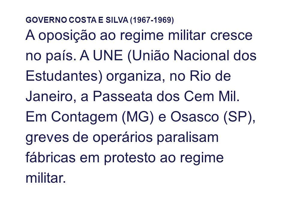 GOVERNO COSTA E SILVA (1967-1969) A oposição ao regime militar cresce no país. A UNE (União Nacional dos Estudantes) organiza, no Rio de Janeiro, a Pa