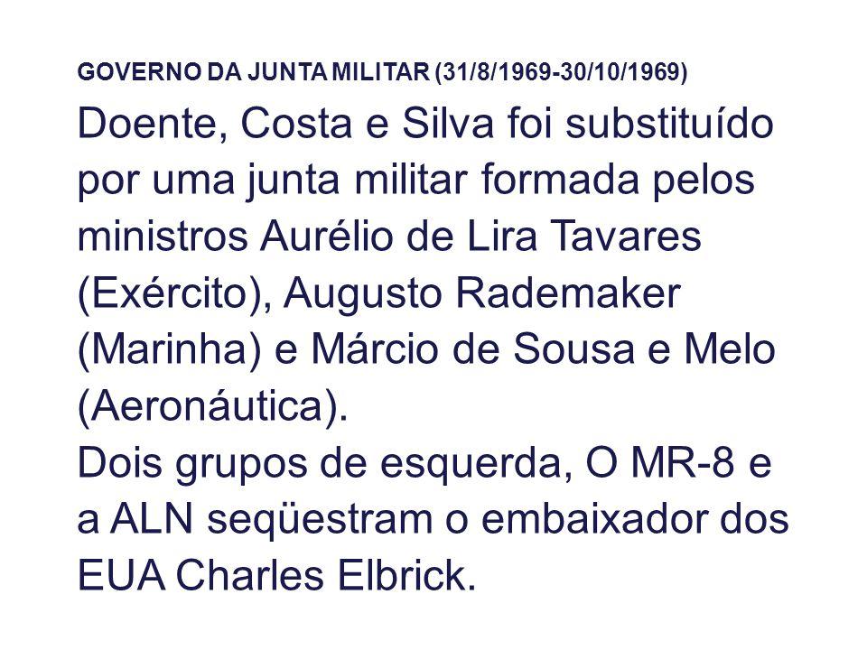 GOVERNO DA JUNTA MILITAR (31/8/1969-30/10/1969) Doente, Costa e Silva foi substituído por uma junta militar formada pelos ministros Aurélio de Lira Tavares (Exército), Augusto Rademaker (Marinha) e Márcio de Sousa e Melo (Aeronáutica).