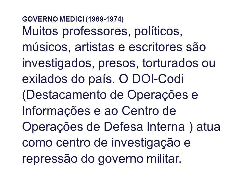 GOVERNO MEDICI (1969-1974) Muitos professores, políticos, músicos, artistas e escritores são investigados, presos, torturados ou exilados do país. O D
