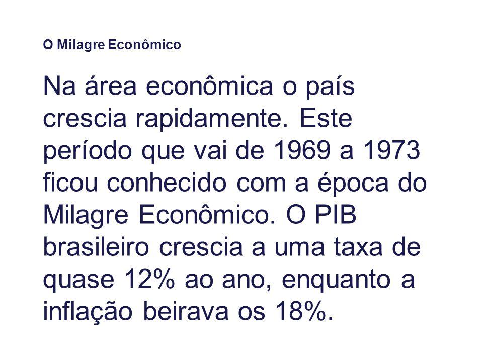 O Milagre Econômico Na área econômica o país crescia rapidamente.
