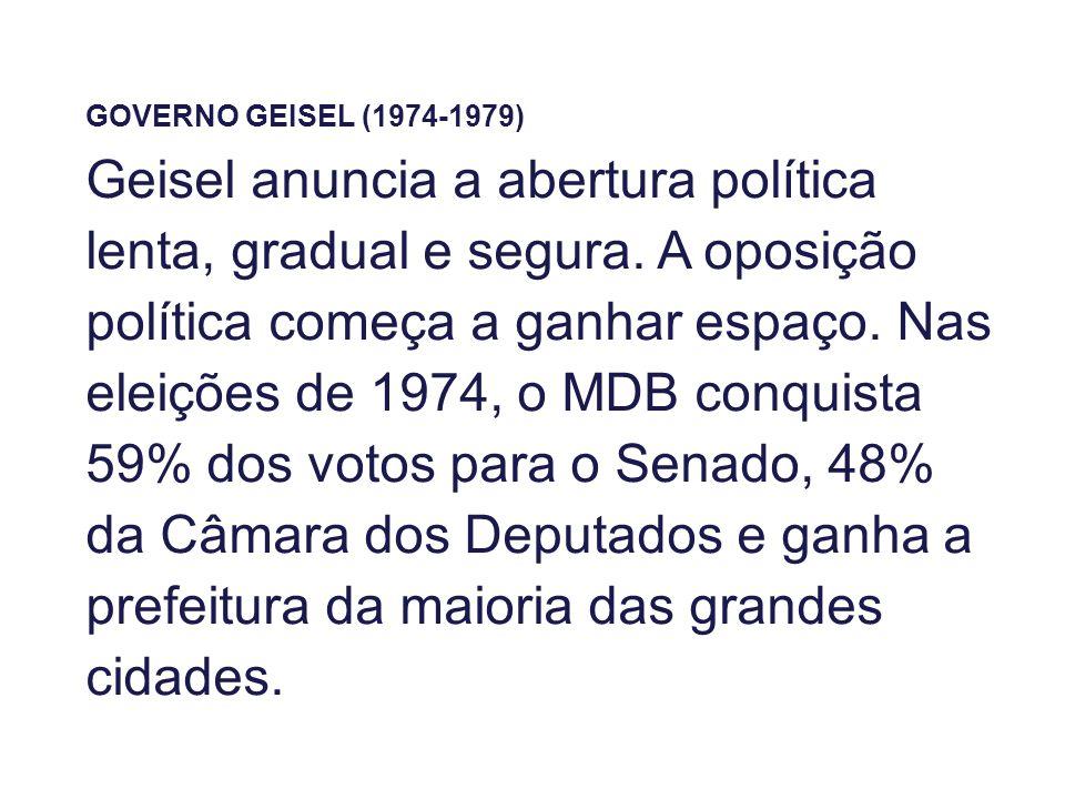 GOVERNO GEISEL (1974-1979) Geisel anuncia a abertura política lenta, gradual e segura. A oposição política começa a ganhar espaço. Nas eleições de 197