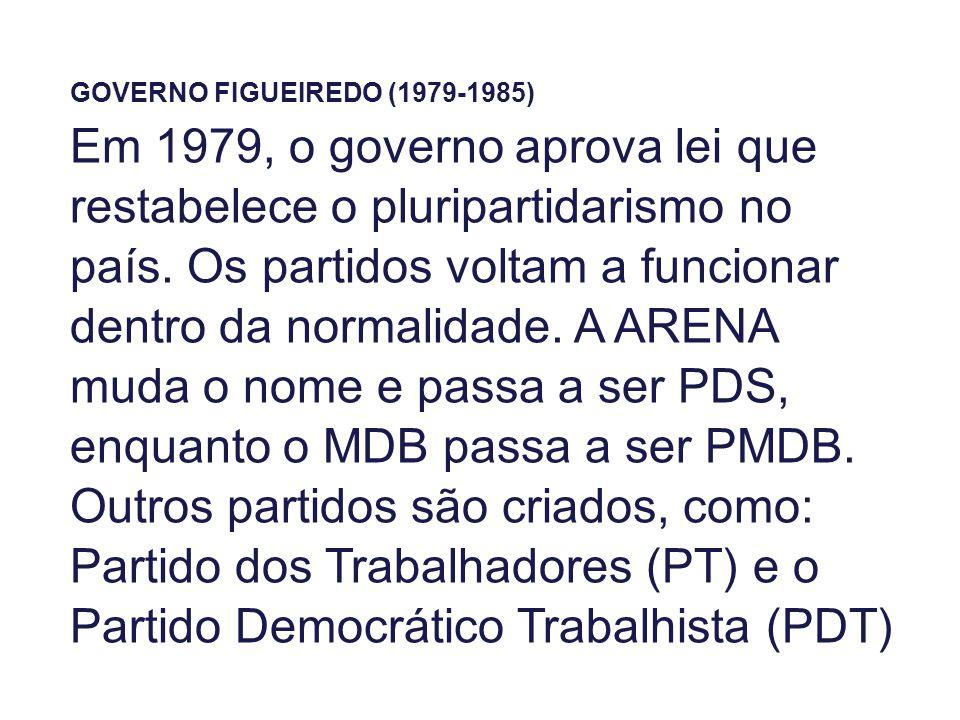 GOVERNO FIGUEIREDO (1979-1985) Em 1979, o governo aprova lei que restabelece o pluripartidarismo no país. Os partidos voltam a funcionar dentro da nor