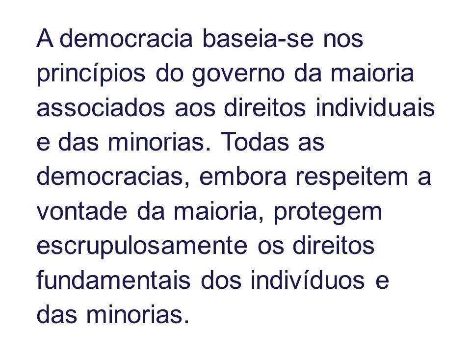 A democracia baseia-se nos princípios do governo da maioria associados aos direitos individuais e das minorias. Todas as democracias, embora respeitem