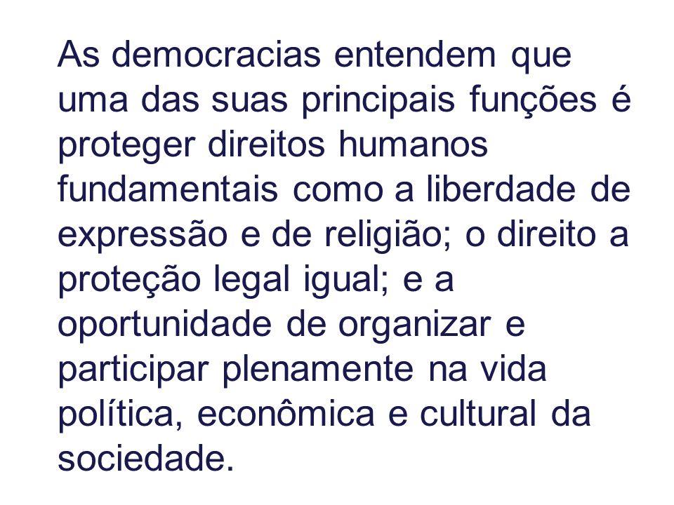As democracias entendem que uma das suas principais funções é proteger direitos humanos fundamentais como a liberdade de expressão e de religião; o direito a proteção legal igual; e a oportunidade de organizar e participar plenamente na vida política, econômica e cultural da sociedade.