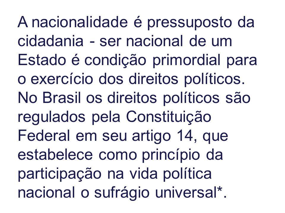 A nacionalidade é pressuposto da cidadania - ser nacional de um Estado é condição primordial para o exercício dos direitos políticos. No Brasil os dir