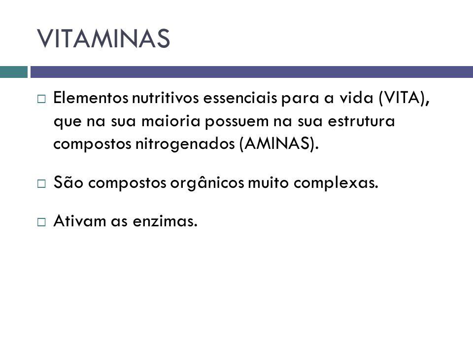 VITAMINAS Elementos nutritivos essenciais para a vida (VITA), que na sua maioria possuem na sua estrutura compostos nitrogenados (AMINAS). São compost