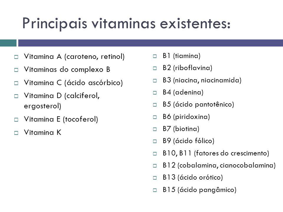 Vitamina A (caroteno, retinol) Vitaminas do complexo B Vitamina C (ácido ascórbico) Vitamina D (calciferol, ergosterol) Vitamina E (tocoferol) Vitamin