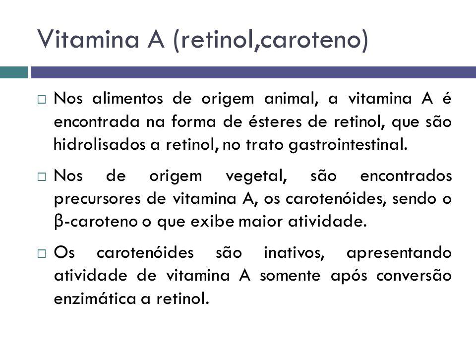 Vitamina A (retinol,caroteno) Nos alimentos de origem animal, a vitamina A é encontrada na forma de ésteres de retinol, que são hidrolisados a retinol
