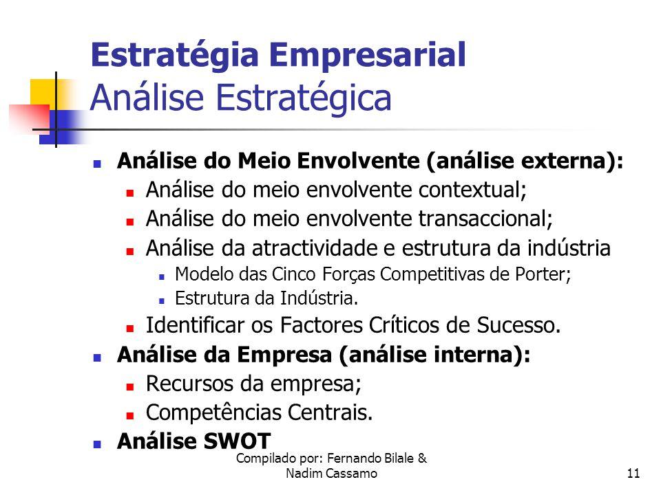 Compilado por: Fernando Bilale & Nadim Cassamo10 Estratégia Empresarial Introdução Modelo de Estratégia Empresarial Análise Estratégica Análise do Meio Envolvente Análise da Empresa Estrutura Organizacional Política de Gestão Formulação da Estratégia Organização e Implement.