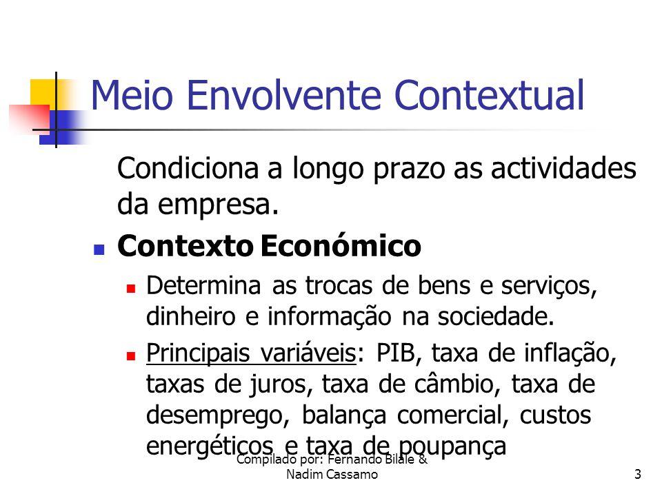 Compilado por: Fernando Bilale & Nadim Cassamo2 Meio Ambiente das Organizações Organização Meio Envolvente Transaccional Meio Envolvente Contextual Contexto Tecnológico Contexto Económico Contexto Sócio-Cultural Contexto Político Legal Clientes Fornecedores Comunidade Concor- rentes FREIRE, Adriano, Estratégia - sucesso em Portugal, pág.