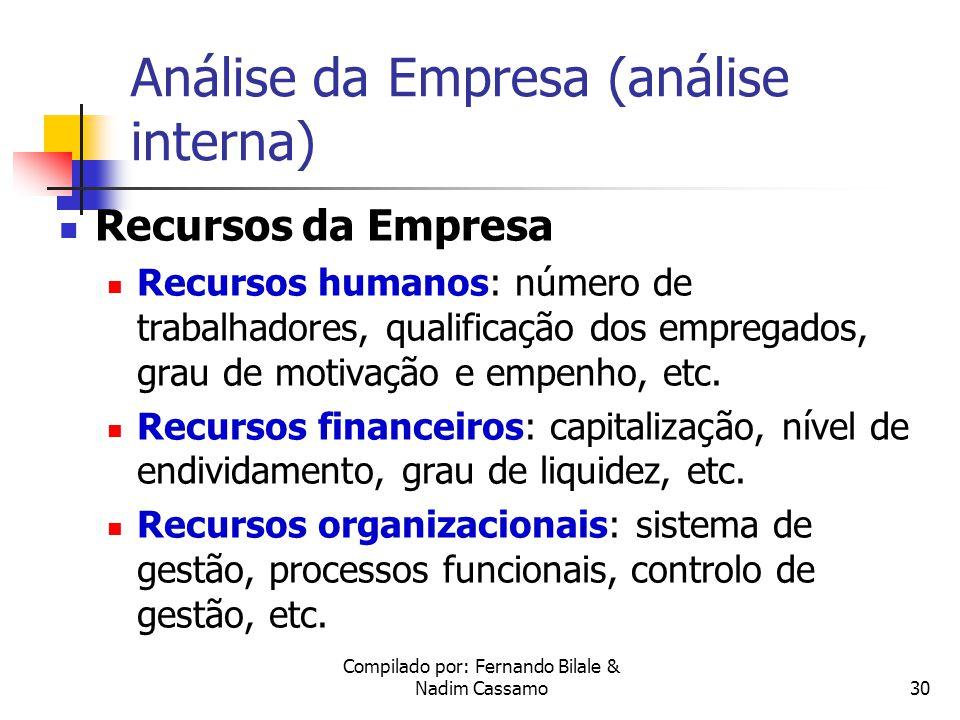 Compilado por: Fernando Bilale & Nadim Cassamo29 Tipo de Indústrias Típicas De acordo com a evolução do ciclo de vida, cada negócio tende a assumir as características de quatro indústrias típicas: Indústria Emergente Indústria Fragmentada Indústria Concentrada Indústria Declínio