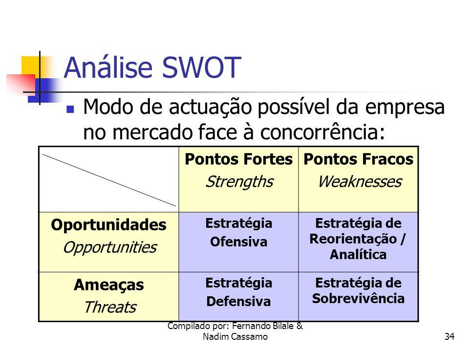 Compilado por: Fernando Bilale & Nadim Cassamo33 Análise SWOT A análise SWOT relaciona os pontos fortes e fracos da empresa com as oportunidades e ameaças do meio envolvente, com o objectivo de gerar medidas alternativas para lidar com as oportunidades e ameaças identificadas.