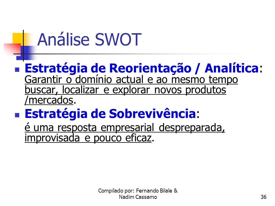 Compilado por: Fernando Bilale & Nadim Cassamo35 Análise SWOT Estratégia Ofensiva: pretende explorar e localizar novas oportunidades de produtos e mercados.