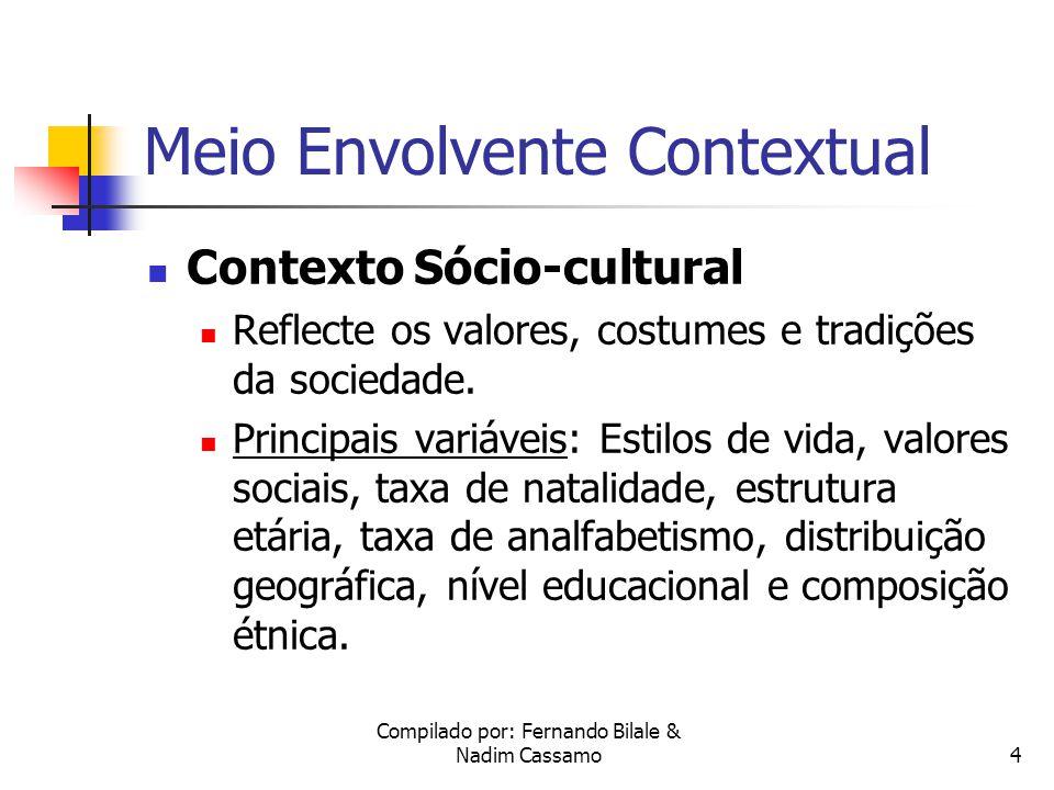 Compilado por: Fernando Bilale & Nadim Cassamo4 Meio Envolvente Contextual Contexto Sócio-cultural Reflecte os valores, costumes e tradições da sociedade.