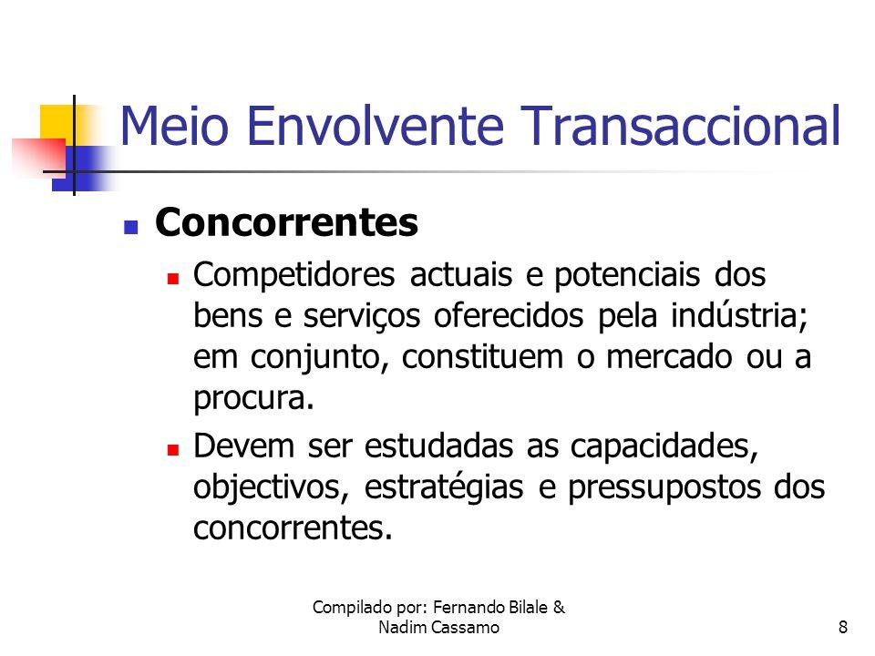 Compilado por: Fernando Bilale & Nadim Cassamo8 Meio Envolvente Transaccional Concorrentes Competidores actuais e potenciais dos bens e serviços oferecidos pela indústria; em conjunto, constituem o mercado ou a procura.