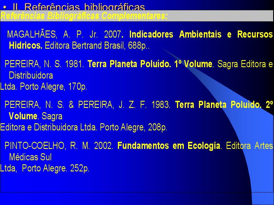 II. Referências bibliográficas II. Referências bibliográficas