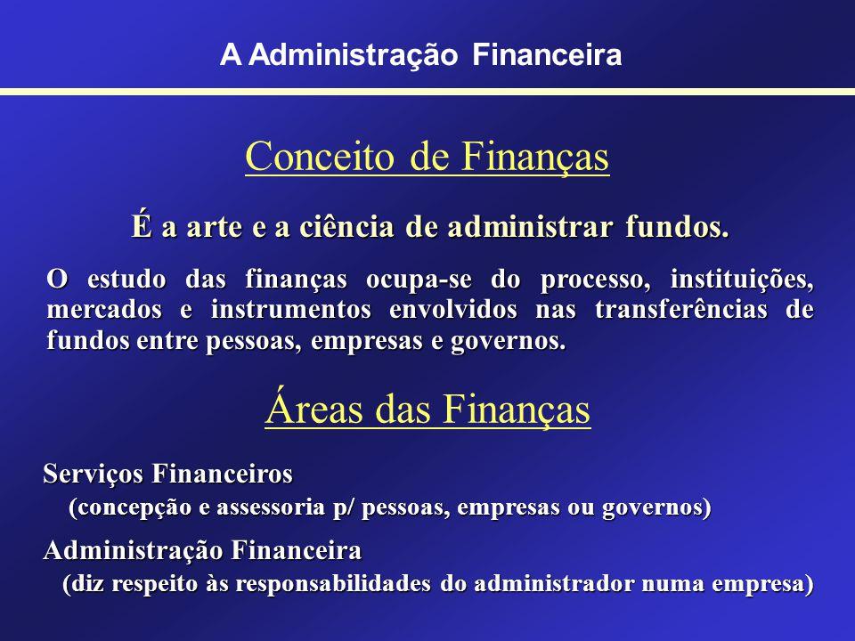 Por que estudar Finanças? A área de finanças afeta a vida de todas as pessoas A área de finanças afeta todas as organizações Org. Financeiras ou Não F