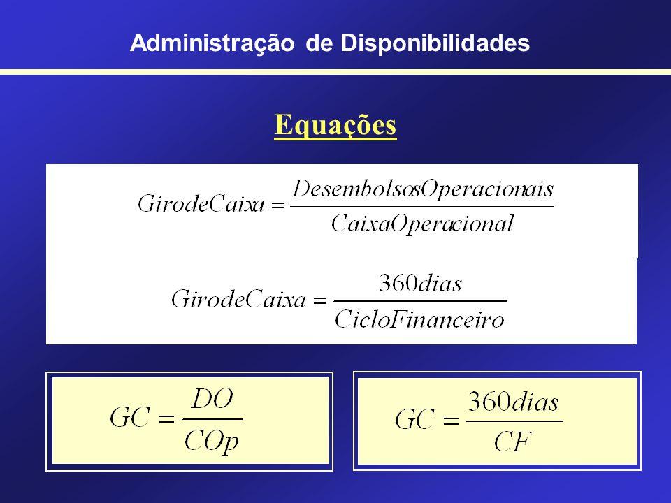 Administração de Disponibilidades Desembolsos Operacionais (DO) São os pagamentos relacionados com as atividades operacionais (fornecedores, salários,