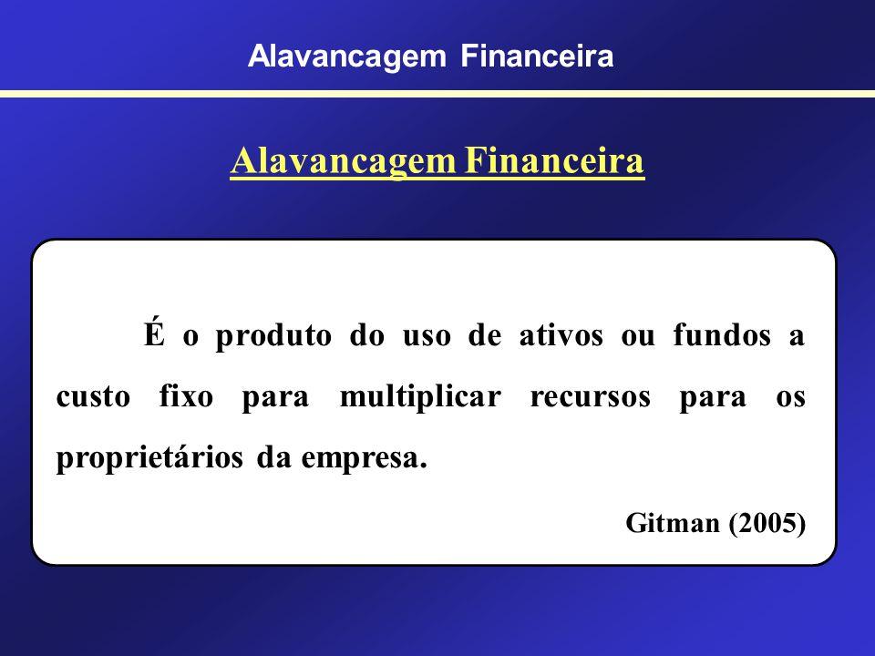 Alavancagem Financeira Ocorre quando o capital de terceiros produz efeitos sobre o patrimônio líquido. O Processo é como se o capital de terceiros, ut