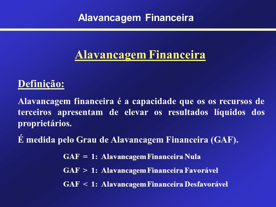 Alavancagem Financeira Grau de Alavancagem Financeira GAF = 1: Alavancagem Financeira Nula GAF > 1: Alavancagem Financeira Favorável GAF < 1: Alavanca